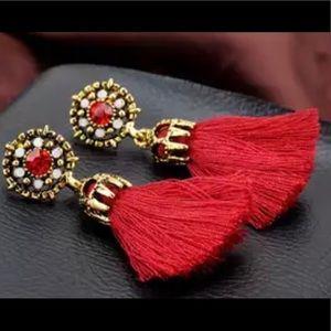 Brand new mini red stone gold TASSLE earrings